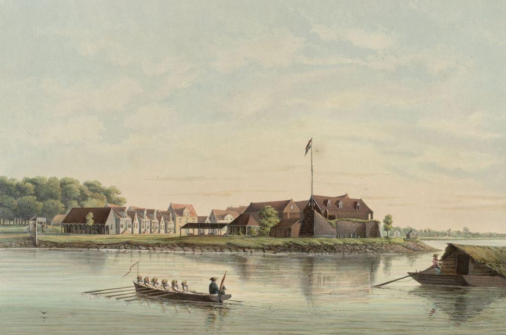 Fort Zeelandia op een afbeelding rond 1860. (Rijksmuseum)