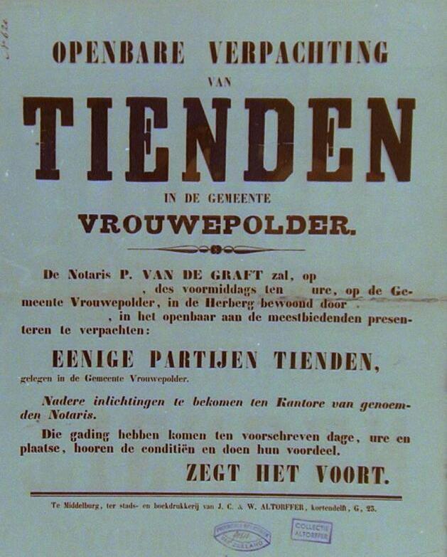 Affiche van de openbare verpachting van tienden in Vrouwenpolder. (Zeeuwse Bibliotheek, Beeldbank Zeeland)