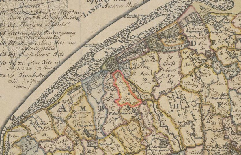 Tiendblok '102' gemarkeerd op een kaart van Walcheren omstreeks 1720. (Zeeuws Archief, collectie Kaarten Zeeland, Nieuwe kaart van Walcheren, uitgave wed. Ottens en Zoone)