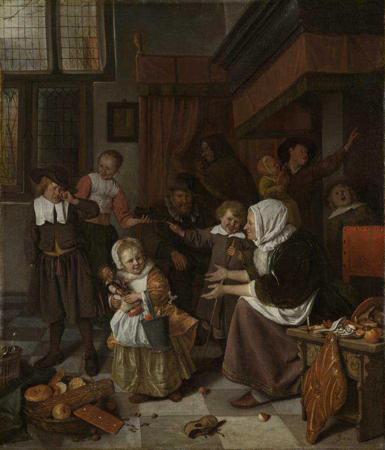 Dit schilderij van Jan Steen toont het Sint-Nicolaasfeest in een gezin uit de 17de eeuw. (Rijksmuseum)