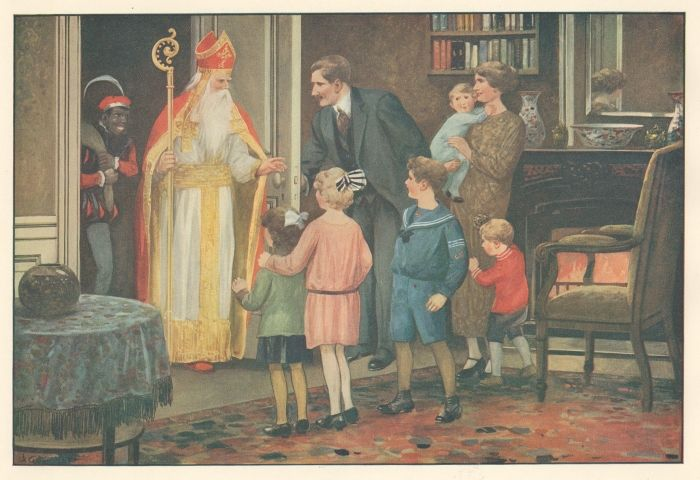 Kinderboekillustratie uit 1947 met Sinterklaas als eerbiedwaardige grijsaard en Zwarte Piet als kinderschrik. (Collectie Koninklijke Bibliotheek)