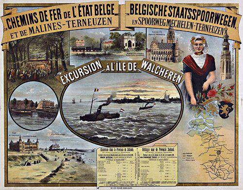 Affiche uit 1892 van de Belgische Staatsspoorwegen (Zeeuws Archief, coll. Zeeuws Genootschap, Zelandia Illustrata). Naast onder andere het stadhuis van Middelburg en het strand van Vlissingen prijst een Zuid-Bevelandse schone een tochtje naar het eiland Walcheren aan.