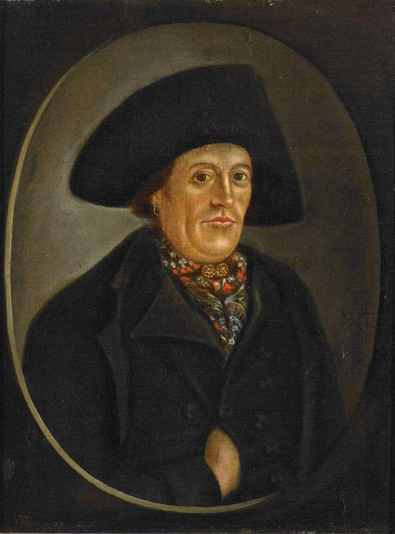 Portret van Karel Kramer uit Noord-Beveland, schilderij door C. Zwigtman, 1808 (Zeeuws Museum, collectie KZGW). Kramer draagt een grote vilten hoed, een gebloemde halsdoek onder zijn keelknopen en een oorring.