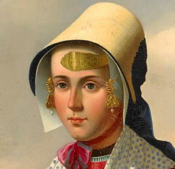 Meisje in zondags kostuum met voorhoofdsnaald. Detail van schilderij door C. Kimmel (Zeeuws Museum, KZGW).