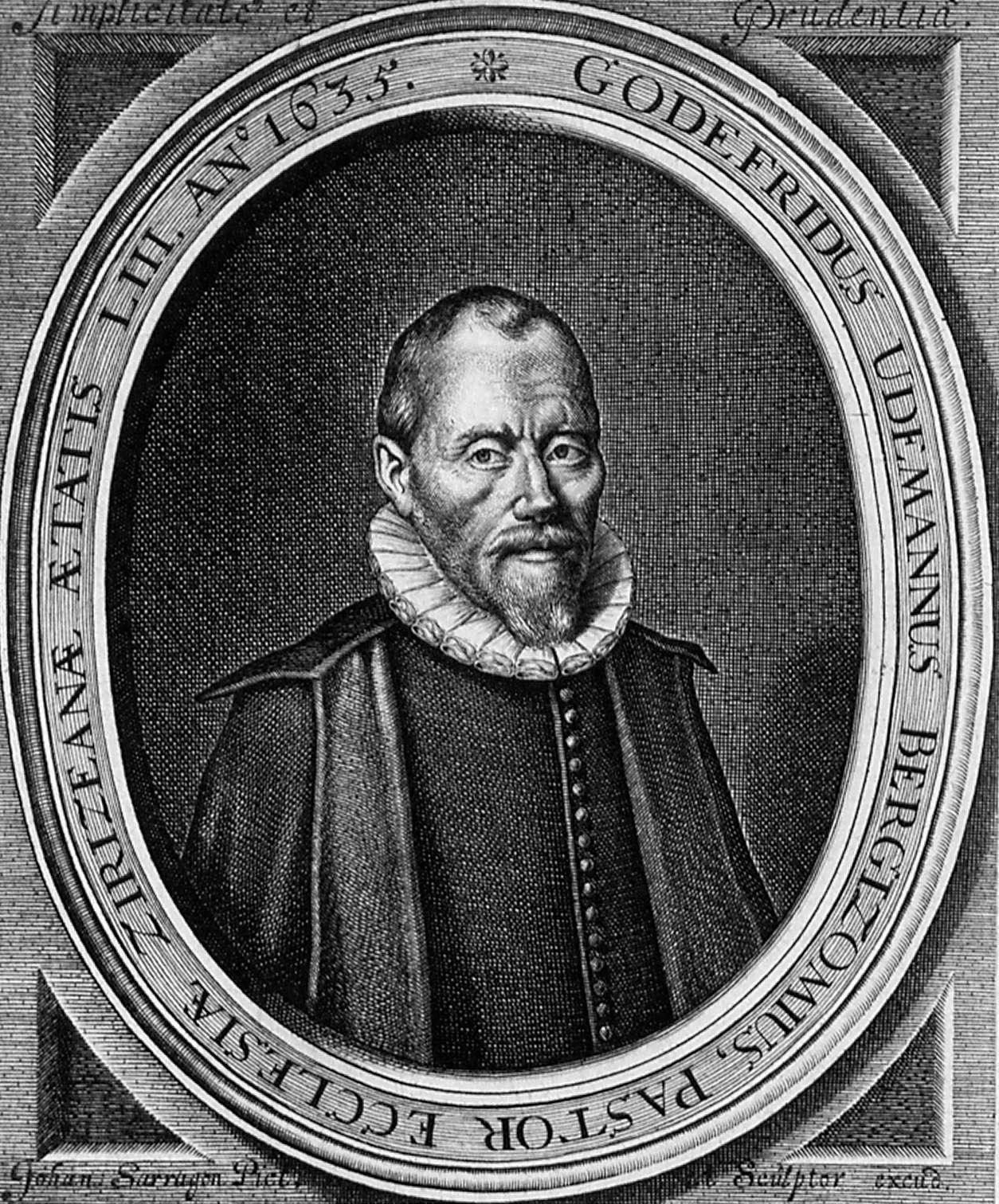 Portret van Godefridus Udemans (1581-1649), predikant te Haamstede en Zierikzee. Kopergravure door J. Sarragon, 1635. (Zeeuws Archief, coll. Zeeuws Genootschap, Zelandia Illustrata)