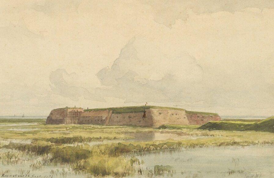 Fort Rammekens vanuit het oosten gezien op een waterverftekening door J.H. Hollestelle (Zeeuws Archief, KZGW, Zelandia Illustrata). Deze tekening is gedateerd 22 september 1876. Het fort was toen al als vestingwerk opgeheven, maar bleef in gebruik als kruitmagazijn.