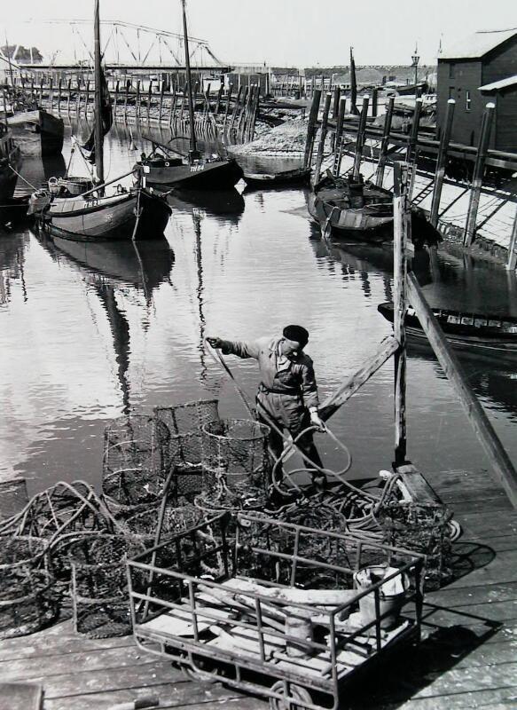 Visser Dies Bal met kreeftenkorven in de haven van Tholen, 1956. (Zeeuwse Bibliotheek, Beeldbank Zeeland)