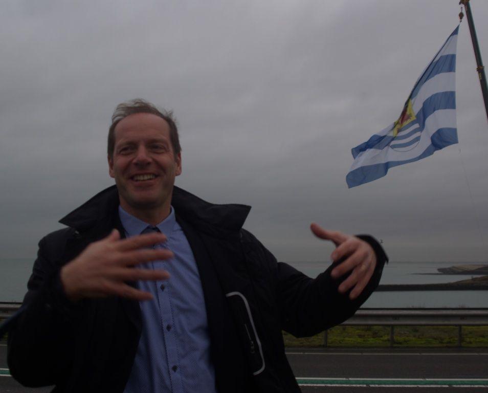 Christian Prudhomme heeft grote verwachtingen van de wind op Neeltje Jans. (Foto Arnold Parre, december 2014)