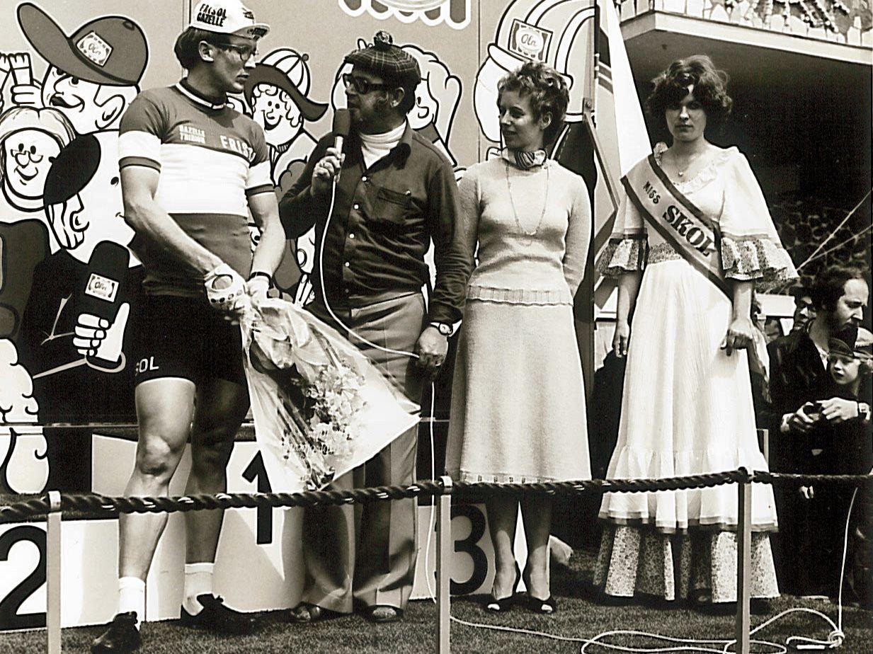 Jan Raas als winnaar van de 3de Omloop van de Vlissingense Boulevard 1979. (Foto archief Ronde van de Boulevard)