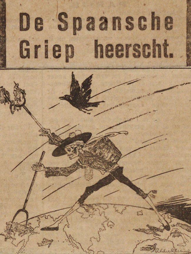 Spotprent van de Belgische tekenaar George van Raemdonck, met als titel 'De oogst'. (Uitsnede krantenknipsel collectie Scheltema deel 3, Stadsarchief Amsterdam)