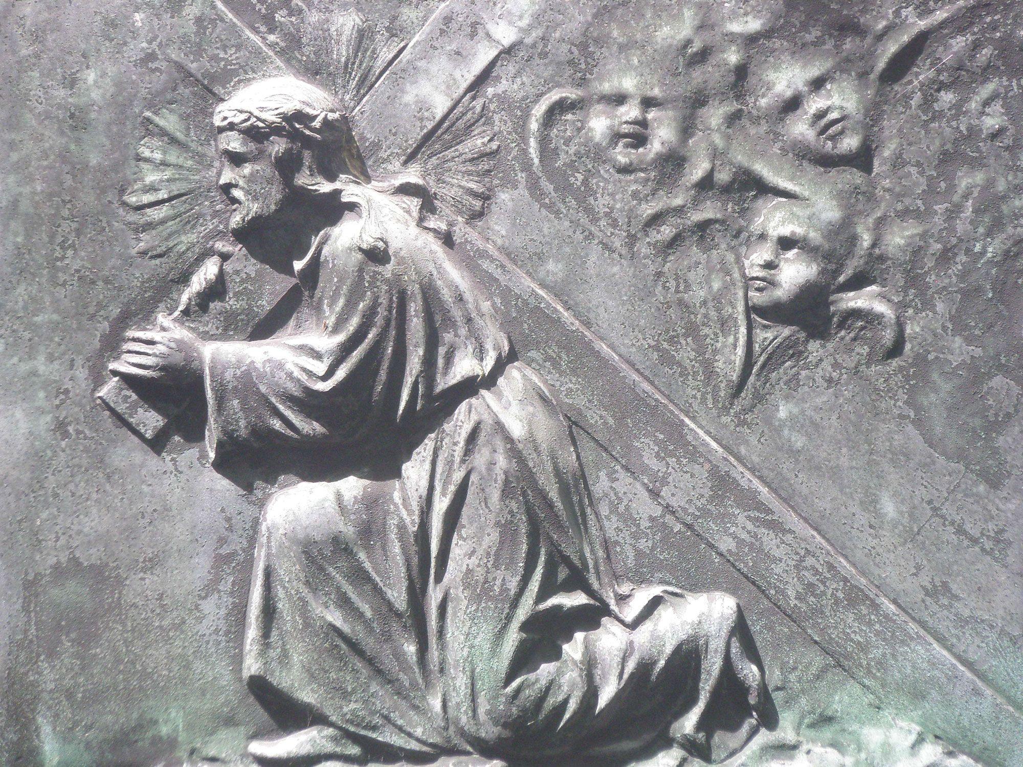 Jezus draagt zijn kruis naar Golgotha. Een van de vele zerkafbeeldingen.