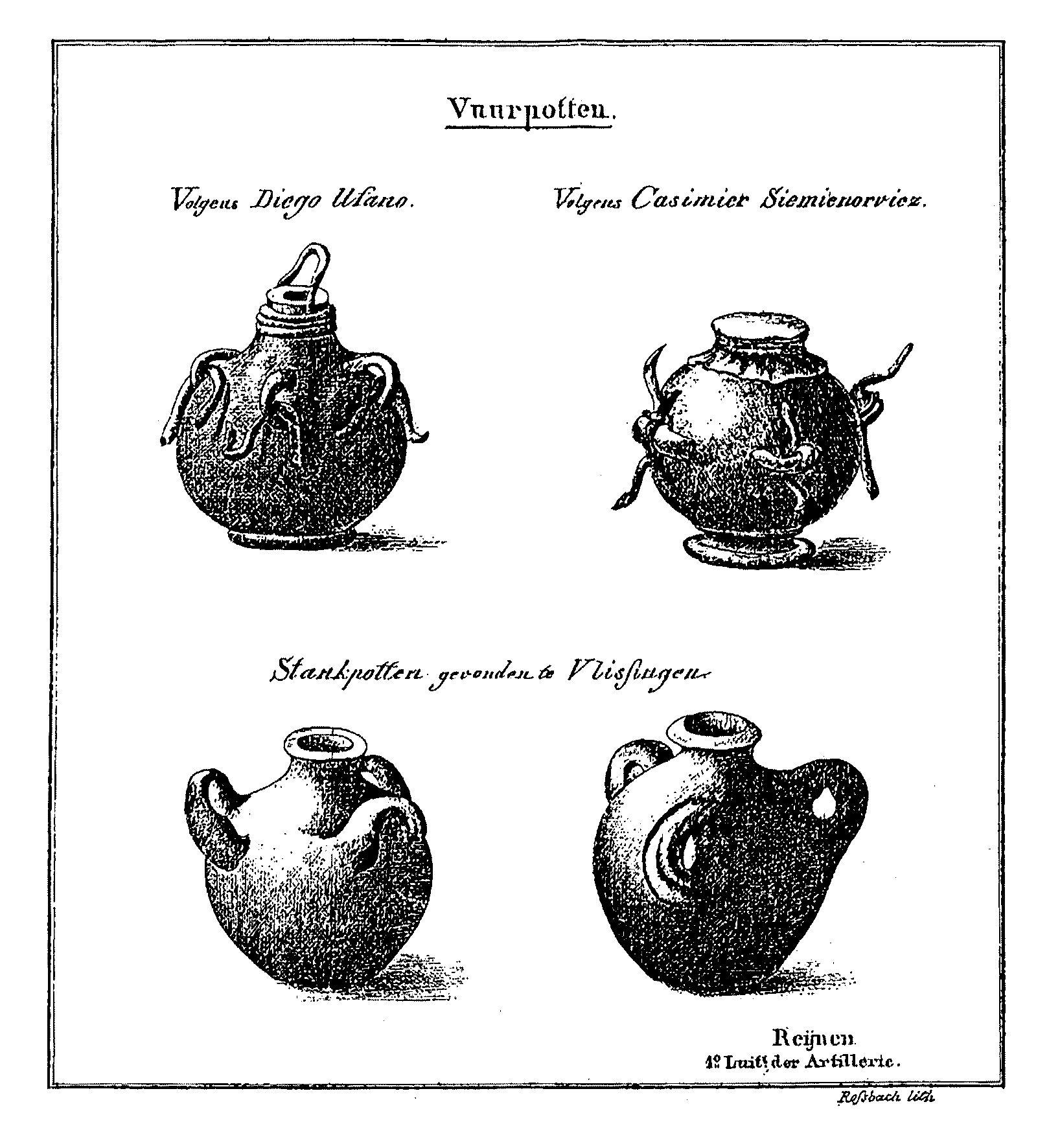 Negentiende-eeuwse afbeelding van stank- of 'vuurpotten'.