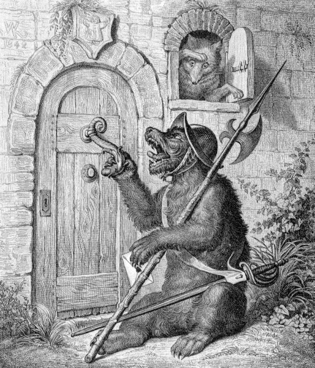 Bruun de beer bij Malpertuus (Goethe, Reineke Fuchs, 1846).