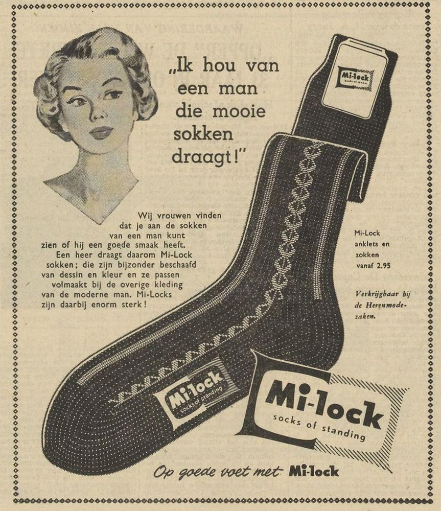 Advertentie voor Mi-Lock sokken in de PZC van 31 mei 1958. (Zeeuwse Bibliotheek, Krantenbank Zeeland)