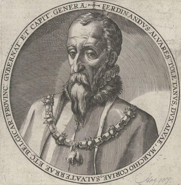 Portret van de hertog van Alva. Gravure, 1586-1587. (Rijksmuseum)