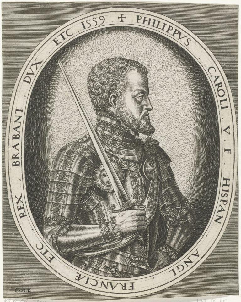 Portret van Filips II. Gravure. (Rijksmuseum)