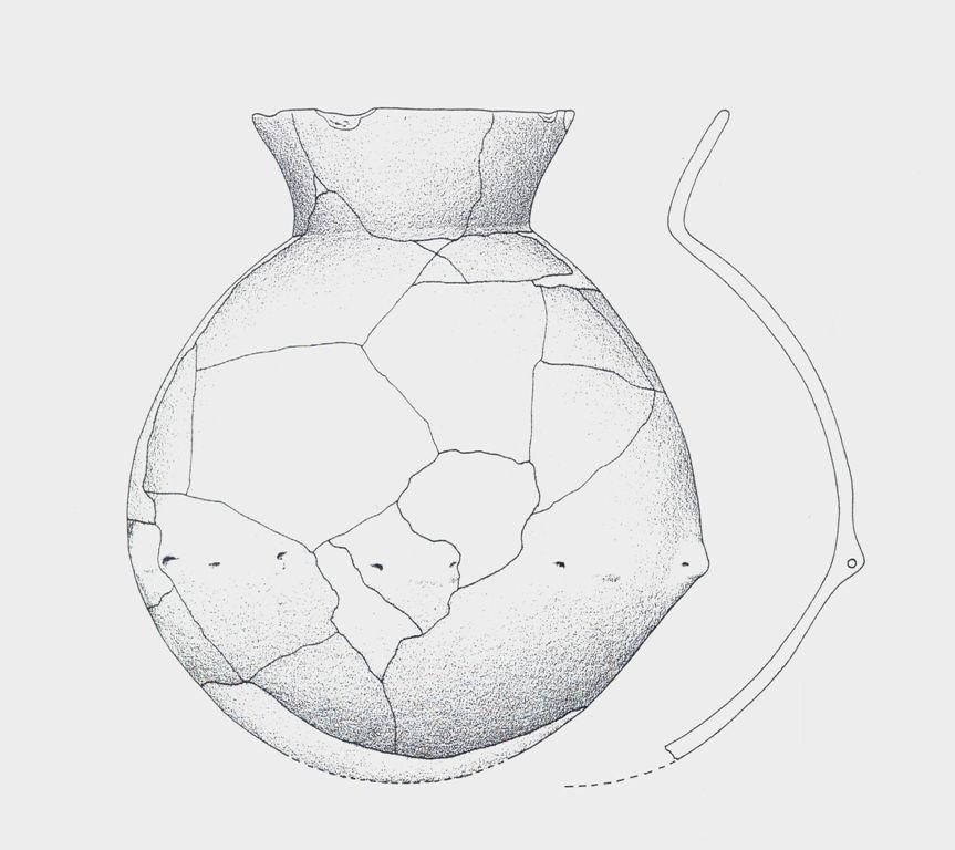 Tekening van een hangpot als voorbeeld van het aardewerk dat in Saeftinghe is gevonden. (Beeldbank SCEZ)