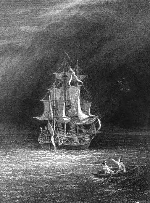 Voorpagina uit het boek van Frederick Marryat met afbeelding van het spookschip.