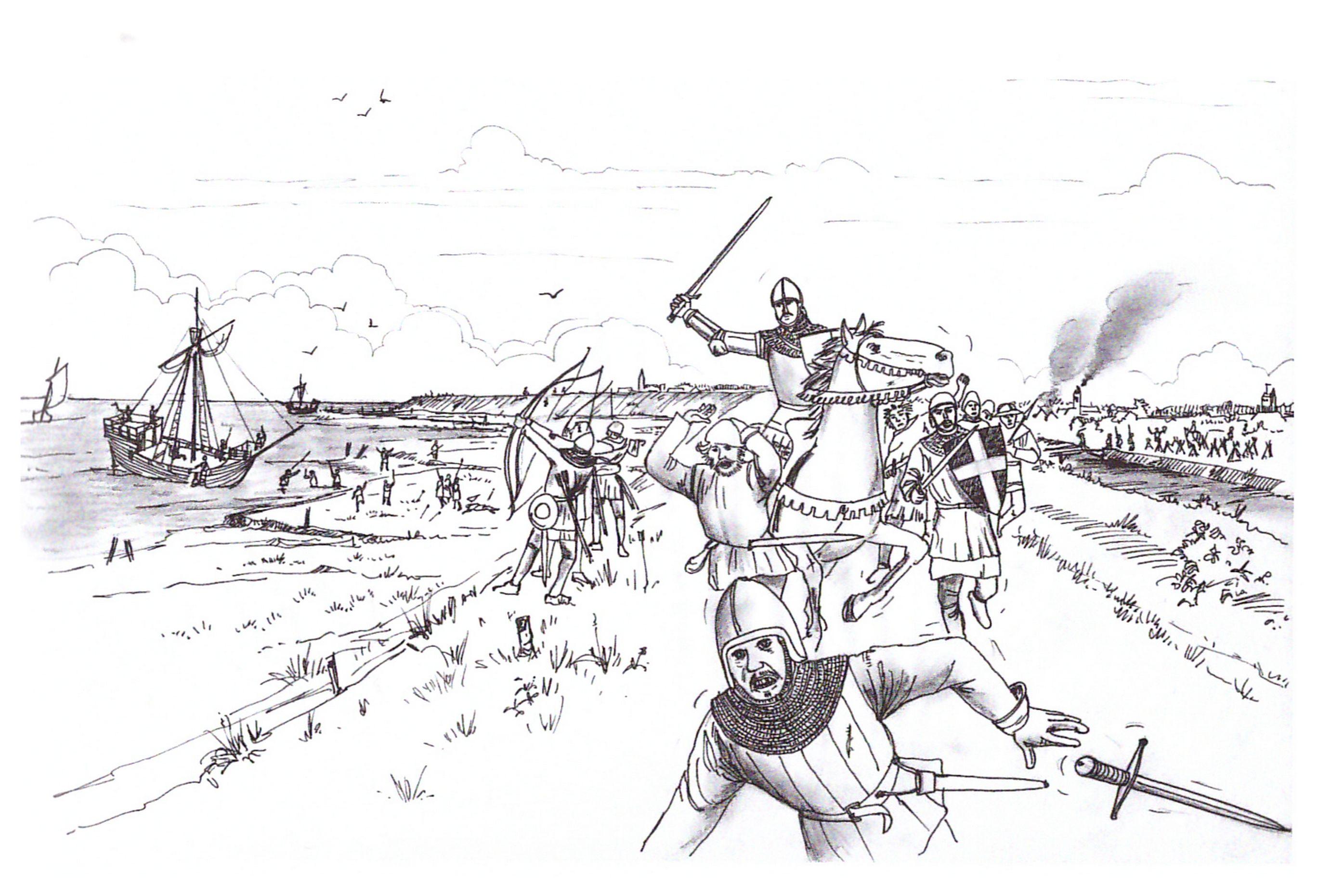 Impressie van de Vlaamse invasie op Zuid-Beveland in 1295. Tekening Kees de Jonge, in: Jan J.B. Kuipers en Robbert Jan Swiers, Het verhaal van Zeeland (Hilversum 2005).