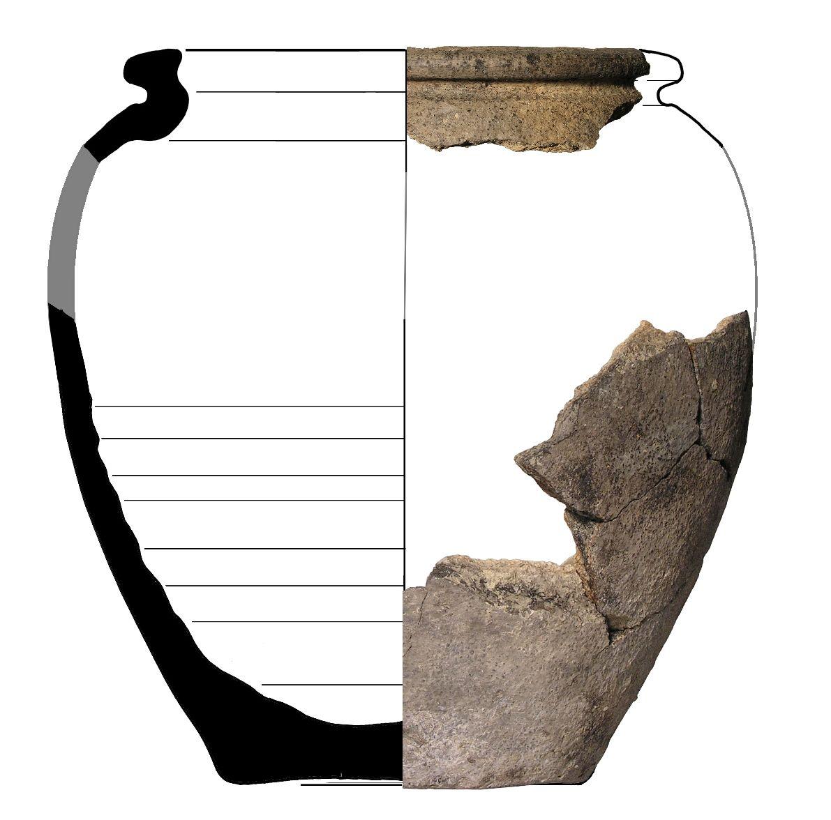 Reconstructie van een tonvormige pot van reducerend gebakken, gedraaid ruwwandig aardewerk. Datering 675-725 na Chr. ((c) ADC Archeoprojecten, Amersfoort).