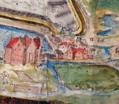 Een van de eerste tekeningen waarop het kasteel en het dorp Vlissingen zijn te zien in 1550. (A. van den Wijngaerde, Zelandiae Descriptio, Middelburg, 1550/1995)
