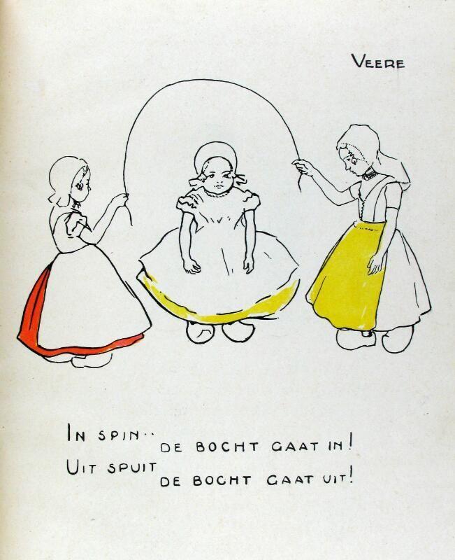 Touwtje springen. Illustratie door Jan Rinke, 1931. (Zeeuwse Bibliotheek, Beeldbank Zeeland)