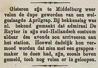 Vlissingsche Courant, 3 april 1907. (Zeeuwse Bibliotheek, Krantenbank Zeeland)