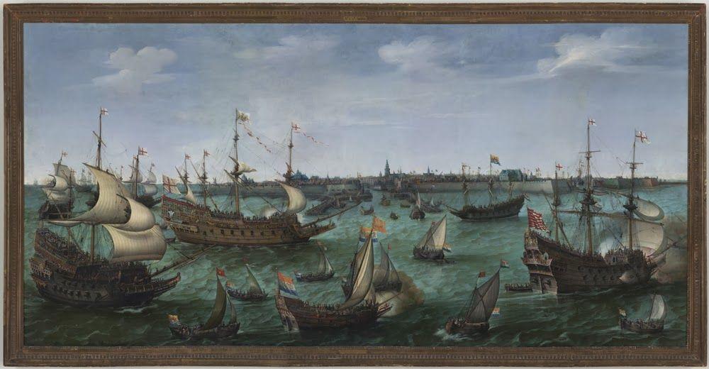 Aankomst van Frederik V van de Palts en Elisabeth Stuart te Vlissingen op 29 april 1613. Schilderij door Hendrick Vroom, 1623. (Frans Halsmuseum)