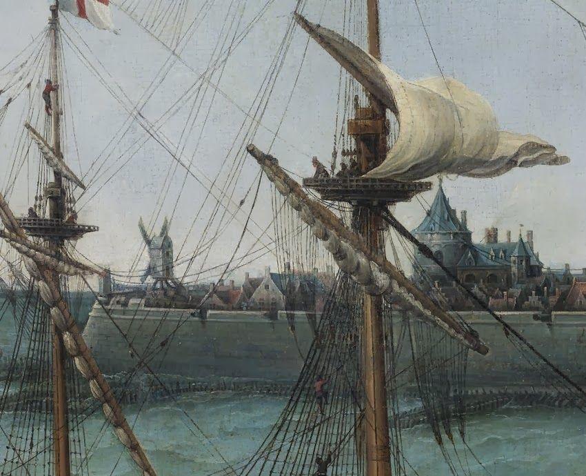 Geheel links de korenmolen. Detail uit het schilderij.