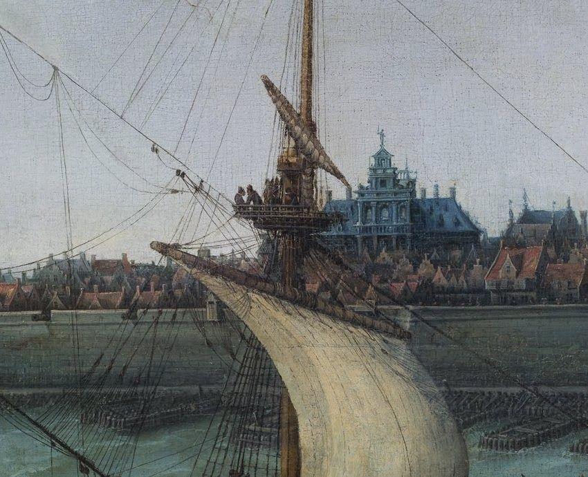 Detail uit het schilderij met in het midden het nieuwe stadhuis.