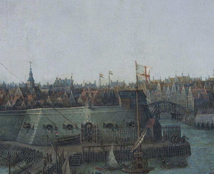 Rechts is de houten ophaalbrug te zien. Daarachter de herenhuizen aan de kade van de Oude Haven. Detail uit het schilderij.