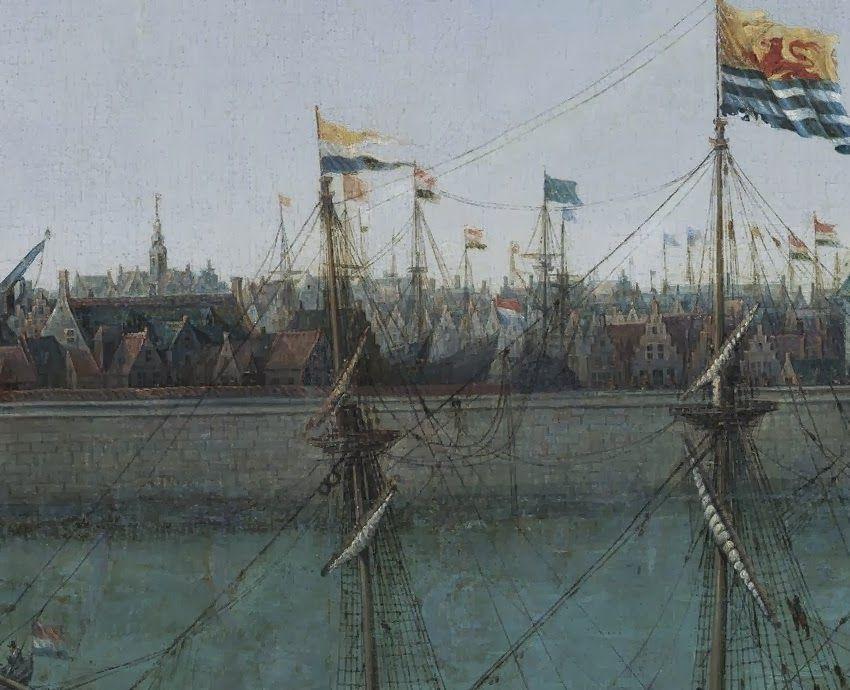 Geheel links staat de mastkraan. Detail uit het schilderij.