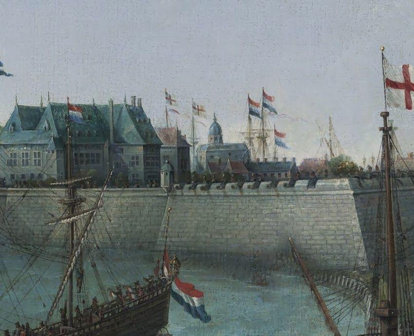 Links het Prinsenhuis. Detail uit het schilderij.