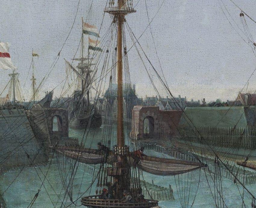 Toegang tot de Oosterhaven en waterpoort bij de Orange Punt. Detail uit het schilderij.