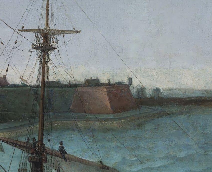 Het Nassause bolwerk. Detail uit het schilderij.