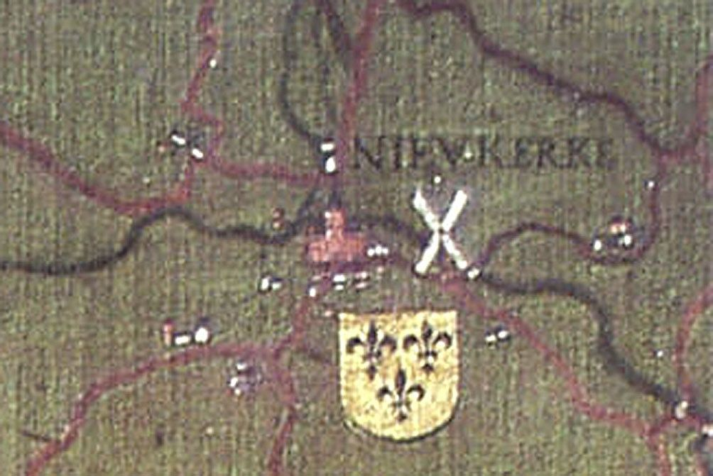 Nieuwerkerke of Nieukerke, afgebeeld op de geschilderde Grote kaart van het Brugse Vrije door Pieter Pourbus in 1571 in kopie door Pieter Claeisens uit 1601. Duidelijk zichtbaar zijn de kerk en de molen van het dorp. (Van der Herten 1998)