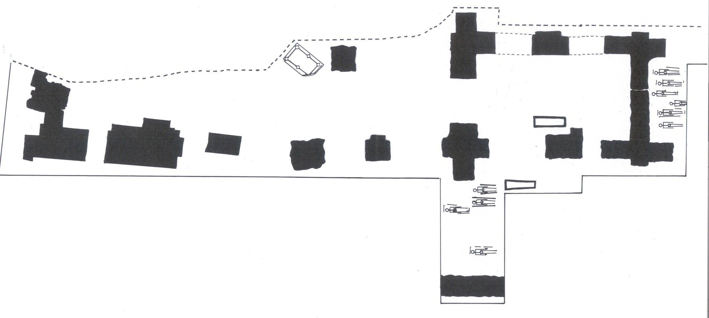 Plattegrond van de in 1995 opgegraven resten van de kerk van Nieuwerkerke. In het middenschip lag de grote grafsteen. (Beeldbank SCEZ)