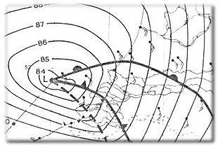 Rond het middaguur trekt de storing Zeeland binnen. Daarachter steekt een zware westzuidwesterstorm op, windkracht 10. (Bron: Weerspiegel)