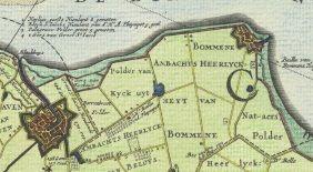 Ligging van Bommenede ten oosten van Brouwershaven op de Visscher-Romankaart van Zeeland uit 1655. (Visscher-Romankaart van Zeeland 1973)