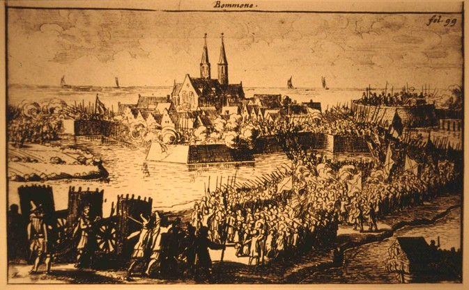Prent van de Spaanse aanval op Bommenede in 1575. (Zeeuws Archief, Zeeuws Genootschap, Zelandia Illustrata III, 66)