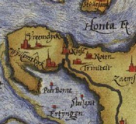Uitsnede uit de kaart van Zeeland van Christiaan Sgrooten uit 1573 met de ligging van het dorp Triniteit ten zuidoosten van Terneuzen (Noese). (http://nl.wikipedia.org/wiki/Christiaan_Sgroten#/media/File:10_Zelandicarum_1573_Sgrooten.jpg)