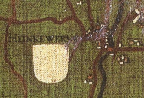 Heinkewerve of Hannekenswerve, afgebeeld op de geschilderde Grote kaart van het Brugse Vrije door Pieter Pourbus in 1571 in kopie door Pieter Claeisens uit 1601. Duidelijk zichtbaar zijn de kerk en de molen van het dorp. (Van der Herten 1998)
