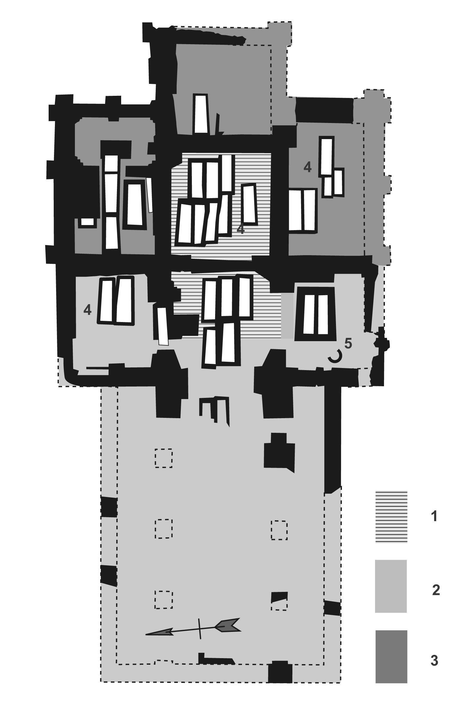 Plattegrond kerk Hannekenswerve. Aangetroffen muurwerk in zwart, aanvullingen met stippellijnen. 1. Kapel ca. 1150; 2. Romaanse kruiskerk 1175-1200; 3. Uitbreidingen baksteen 13de eeuw; 4. Grafkelders; 5. Klokvorm. (Van Dierendonck 2005)