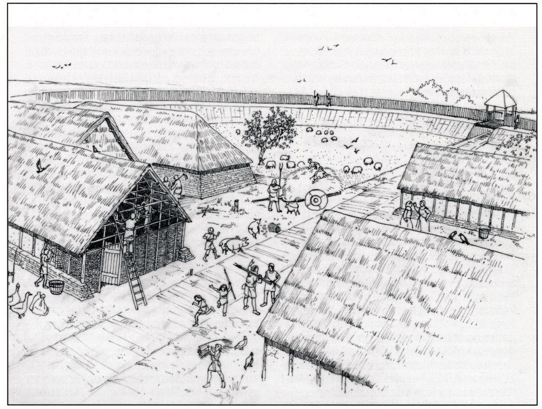 Impressie van het leven in een ringwalburg in de tiende eeuw (tekening Kees de Jonge).