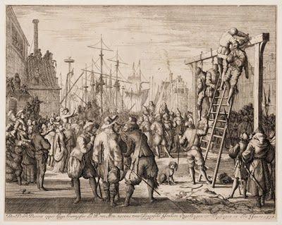De executie van Don Pedro Pacieco en twee van zijn metgezellen in mei 1572. (Ets van Jan Luyken uit P.C. Bor, Oorsprongh, begin en vervolgh der Nederlandsche oorlogen, Amsterdam 1621)