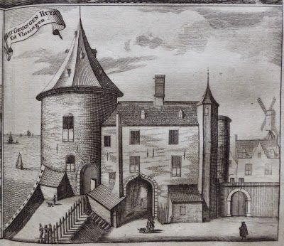 De Gevangentoren en de Westpoort, circa 1700. (M. Smallegange, Cronyk van Zeeland, Middelburg 1696, 564 en 565)