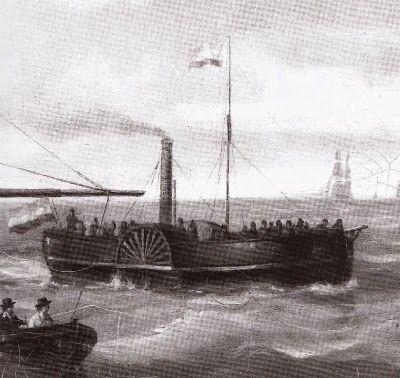 'De Schelde' was van 1828 tot 1866 in de vaart als veerboot tussen Vlissingen en Breskens. (Zwart-wit detail van het schilderij De Wedstrijd van J.F. Schütz)