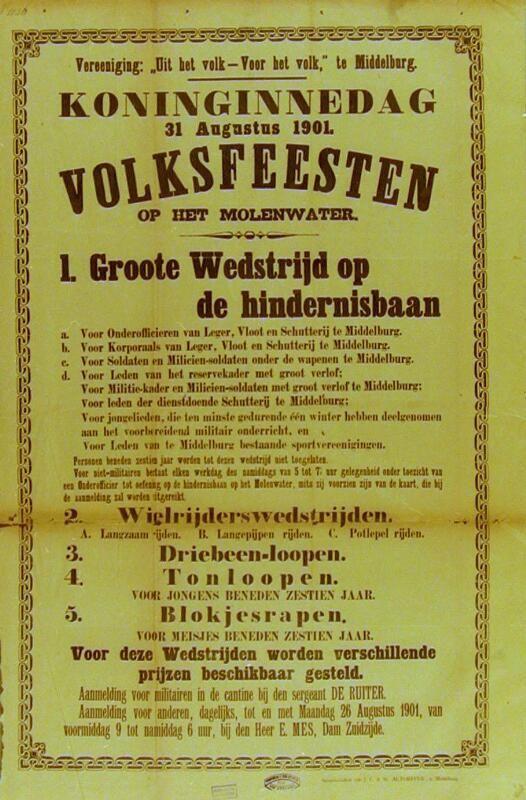 Affiche voor de viering van Koninginnedag in Middelburg, 1901. (Zeeuwse Bibliotheek, Beeldbank Zeeland)