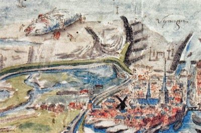 Detail uit een stadsplattegrond uit 1550. In het midden is de plaats te zien waar de dijk is doorgestoken. (A. van den Wijngaerde, Zelandiae Descriptio, oorspronkelijk 1550)