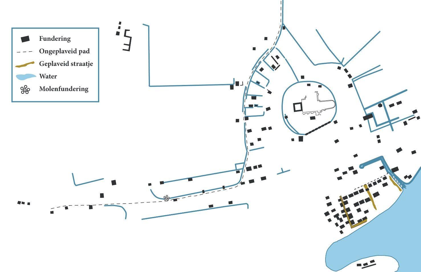 Schematisch overzicht van de dorpsplattegrond van het verdronken Nieuwlande gebaseerd op gepubliceerde gegevens en niet wetenschappelijk vastgelegde observaties van amateur-archeologen. (Kuipers (eindred.) 2004; samenstelling L. Hopstaken, Bergen op Zoom)